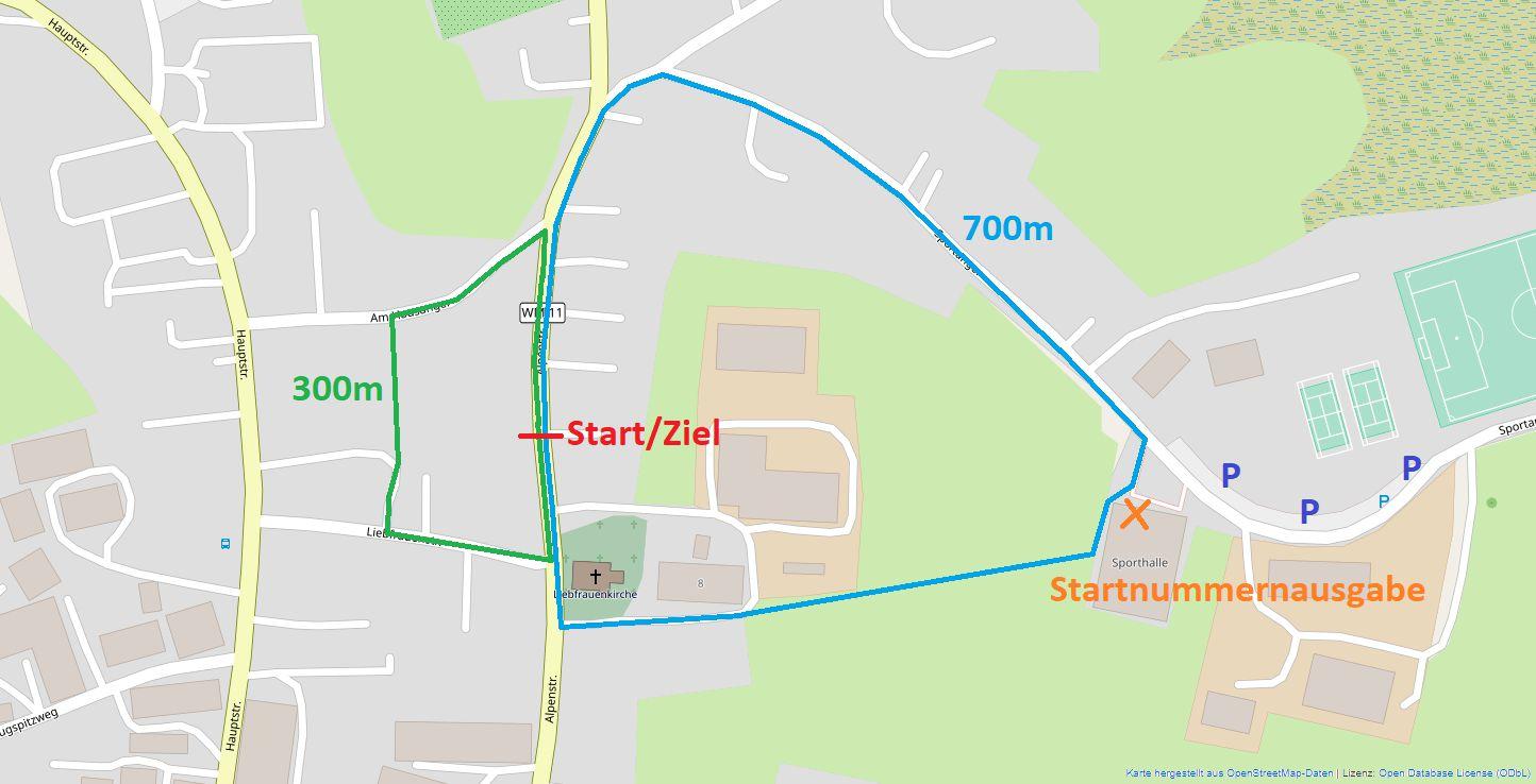 Strecke 25. Stundenteamlauf Obersöchering